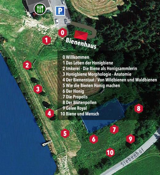 Standorte der Schautafeln mit Themen